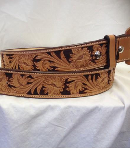 tooled leather belt 171 logan western supply