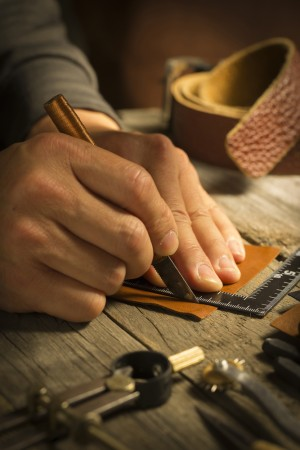 handmade leather - Stock Image